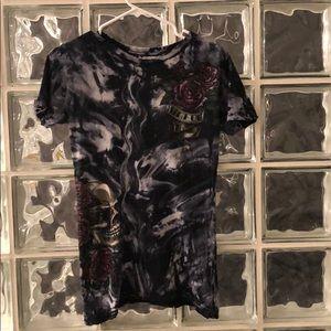 Sinful Affliction t shirt rhinestones skull roses